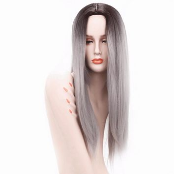 Ombre Silver Grey / Blonde Long Straight Heat Resistant Synthetic Hair Wig For Women, Cosplay Or Party Hairpiece 26inches