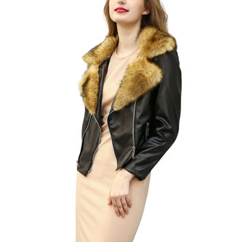 Raccoon Yellow Faux Fur Lapel PU Biker Jacket