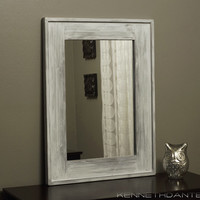 White Framed Mirror Distressed Wood Frame