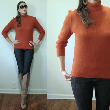 Vintage PUMPKIN Orange 1960's Fitted Ribbed Long Sleeve Sweater Small Romanian