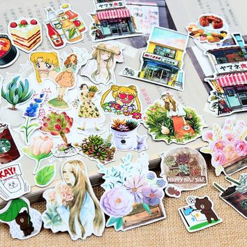 Kawaii Girl Kids Cartoon Animal Floral Food Stickers Diary Scrapbooking Label School Office Supplies Cute Stationery Gift Decor