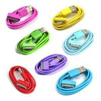 Case Star 7pieces 3Feet USB Charge and Sync Data Cable for iPhone and iPod, Case Star Cellphone Bag, Hot Pink, Green, Purple, Aqua Blue, Yellow, Turquoise Blue, Red