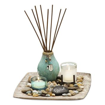 San Miguel Reverie Sea Grass & Lotus Reed Diffuser Garden Set (Stone/Natural)