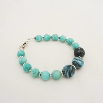Amozonite and Chrysocolla Bracelet, Gemstone Bracelet, Blue Gemstone Bracelet