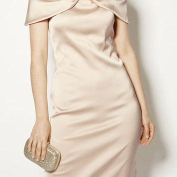 SATIN BOW PENCIL DRESS