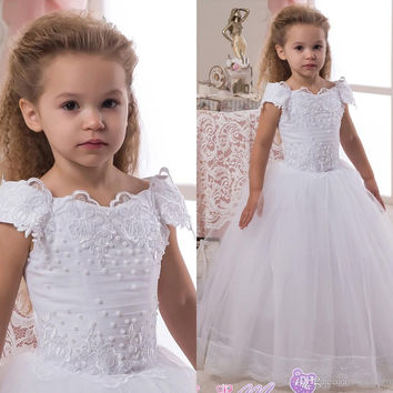 2016 Lace Pearls Ball Gown Flower Girl Dresses for Weddings Vintage Little Girls Pageant Gown Holy Communion Dresses FE82