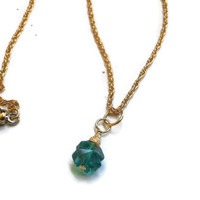 "Swarovski Emerald Shamrock Pendant Necklace in Gold - 17.25"" - NCK053"