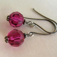 Pink Earrings   Sterling Silver   Fushia by ZorroPlateado on Etsy