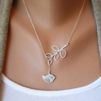 Silver Bird Necklace, Winter Gift - Bird Lariat, Silver Branch, Sparrow Necklace, Bird Jewelry  N-1