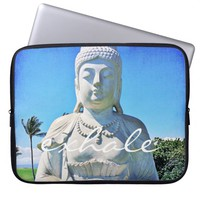 """Exhale"" Hawaiian white Buddha photo laptop sleeve"