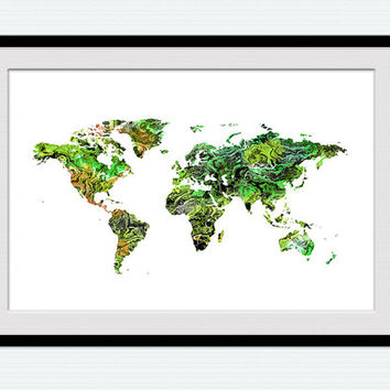 World map print World map poster Watercolor world map illustration Home decoration Office decor Kids room wall art Christmas gift  W342