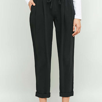 Light Before Dark Tie Front Black Trousers - Urban Outfitters