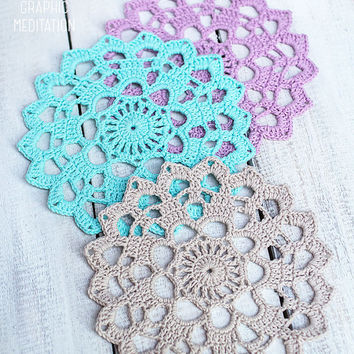 "Crochet coasters, 3 Color doily set 6"", Round doily cup coasters, Wedding table decor, Lilac doily, Hand crocheted doily, Beige lace doily"