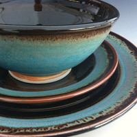 Ceramic Dinnerware Set - Made to Order - Turquoise Brown Black