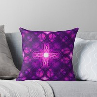 'Pink kaleidoscope cross pattern' Throw Pillow by steveball