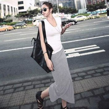 Women Split Maxi Skirts New Arrival 2018 Sexy Summer Style Womens Fitness Casual Long Skirt