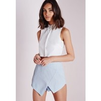 Missguided - Textured Skort Acid Pastel Blue