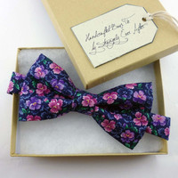 floral mens bow tie pre tied adjustable - purple and pink bowtie adult size