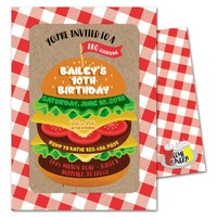BBQ Hamburger Invitations - Cheeseburger Birthday Invitation - Cookout Invitations - Grill Birthday Invites - Picnic Invitation - Burgers