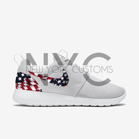 American Flag Nike Roshe Run White Custom