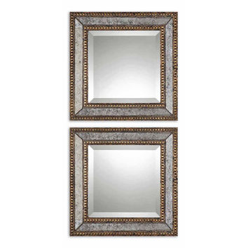 Mirrors, Walker Accent Mirror Set, Gold, Wall Mirrors