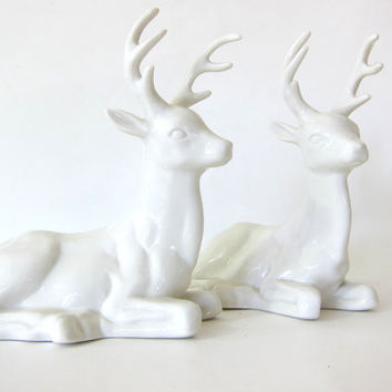 20% OFF SALE pair of Vintage white porcelain deer / reindeer figurines