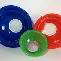Pyrex Clear Bottom Nesting Mixing Bowl Set # 322 325 326 Primary Color Blue Red Green Retro 80's