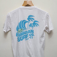 15% SALES Vintage LOCAL MOTION Hawaiian Surf Co Tee T Shirt White Size S