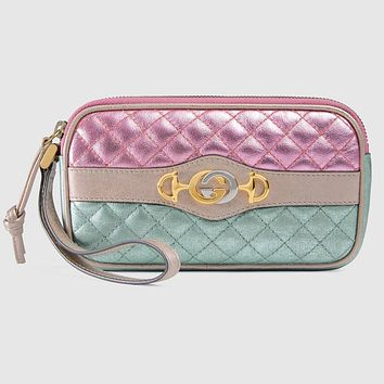 Gucci Women's Dionysus Logo Quilted Laminated Pink Blue Metallic Clutch 542202