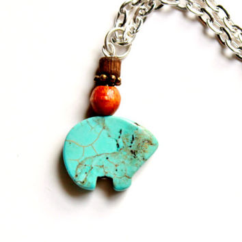 Nature Jewelry Bear Necklace Turquoise Dyed Howlite and Vintage Wood Bead Pendant on Silver Plated Chain