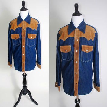 Vintage 1970s long sleeved snap button down Oversize Oversized DENIM SHIRT jacket with Tan LEATHER Suede Detailing