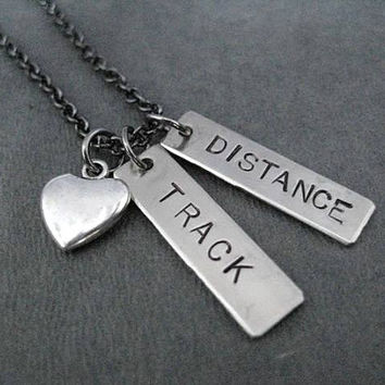 TRACK Love DISTANCE or EVENT Necklace - Choose Heart or Shoe Charm - See Drop Down Menu to Choose your Track Event or Track Distance - T & F