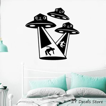Aliens UFO Wall Stickers Kids Room Fantasy Supernatural Mystery Child Room Wall Decor Outer Space Art Decals Bedroom Mural S732
