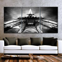"LARGE 30""x 60"" 3 Panels Art Canvas Print beautiful Eiffel Tower Paris Black & White Night Wall decor interior (Included framed 1.5"" depth)"