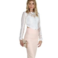 White Mesh Crop Out Jacket