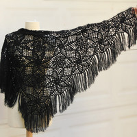Black Crochet Shawl, triangle Shawl, Tribal, Flower, Christmas Gift, for Grandmother, Mother, Aunt, Anniversary Gift For Wife, Handmade Gift