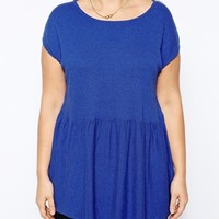 ASOS CURVE Exclusive Knitted Oversized Peplum Top - Cobalt