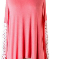Coral Lace Piko Style Top