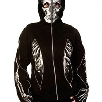 "WOMEN'S ""SKELETON BONES"" ZIP-UP HOODIE BY BANNED APPAREL (BLACK)"