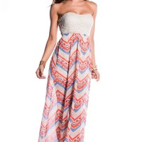 Cute Beige Lace and Flowy Skirt Strapless Maxi Dress