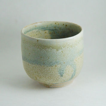 8 oz Ounce Porcelain Tea Bowl, Blue Cream & Grey, Wine Glass Tumbler Unique Coffee Mug Cup Handleless, Handmade Wheel Thrown yunomi pottery