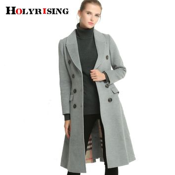 Classic women artificial cashmere coat double button coats slim overcoat turn collar outwear female jackets