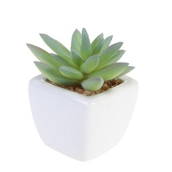 Cube Modern Potted Green Artificial Succulent Plants Mini Fake Flower Pot for Indoor Outdoor Decor