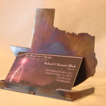 Texas Business Card Holder Metal Standing Art