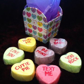 CONVERSATION HEART BaTh CaNdieS - Lush Fizzy Valentine's Day Bath Bomb. Wrapped and Ready for Giving.  Gift Idea, Party Favor, Basket Filler