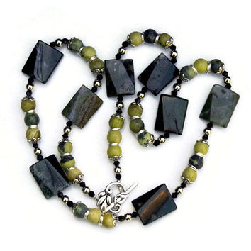 Long Stone Forest Green Avocado Necklace, Moss Agate African Turquoise, Chunky Semiprecious Jewelry, OOAK Handmade Unique, ALFAdesigns