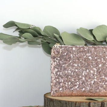 Blush Pink Sequins and Champagne Metallic Leather Clutch / Sparkly Rose Gold Cosmetic Case / Fancy Bridesmaid Gift - Almquist Design Studio