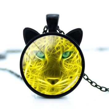 Tiger Glass Pendant Necklace