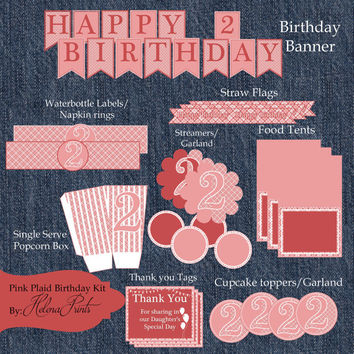 INSTANT DOWNLOAD Printable 2nd Birthday PINK & White Party-Pink and White Party Kit-Girl's Birthday Party Supplies-Birthday Party