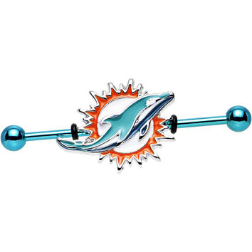Officially Licensed NFL Miami Dolphins Industrial Barbell